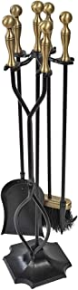 5 Pieces Fireplace Tools Sets Brass Handles Wrought Iron Fire Place Tool Set and Holder..