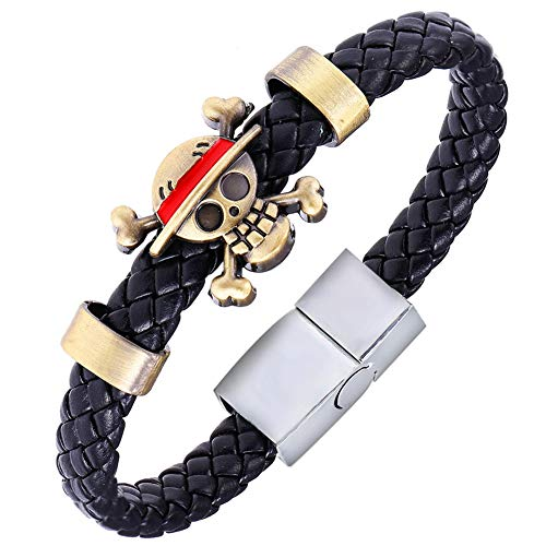 Bowinr One Piece Bracelet, Japanese Animation One Piece Monkey D. Luffy Pirate Wristband for Kids Teens Adults and Anime-Fans
