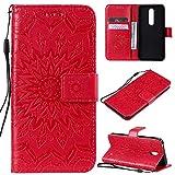 KKEIKO Hülle für Nokia 7.1, PU Leder Brieftasche Schutzhülle Klapphülle, Sun Blumen Design Stoßfest Handyhülle für Nokia 7.1 - Rot