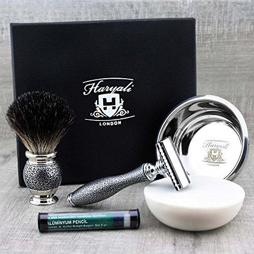 Brocha de afeitar de pelo de tejón, maquinilla de y Haryali London