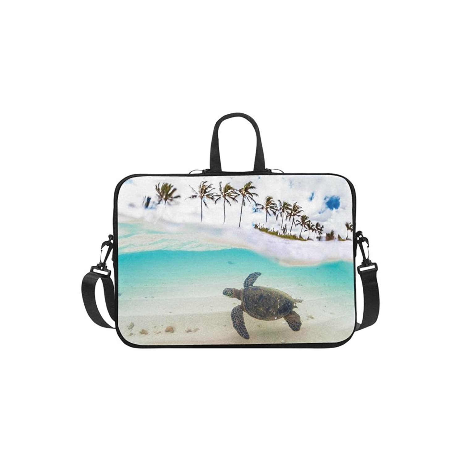 InterestPrint Tropical Palm Tree Sea Turtle Shoulder Strap Computer Bag, Summer Sandy Beach Neoprene Laptop Sleeve Case Cover for 15.6 Inch for MacBook Pro Air Dell HP Lenovo Thinkpad Acer Ultrabook