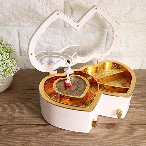 Caja musical, caja de joyería musical de bailarina Caja de música de bailarina, caja de almacenamiento para almacenamiento de joyas pequeñas niñas(white)