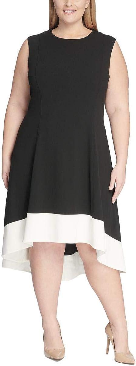 Tommy Hilfiger Womens Black Color Block Sleeveless Jewel Neck Midi Shift Wear to Work Dress Size 22W