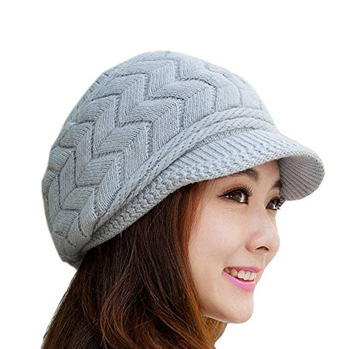 SWEDREAM Sombrero Invierno Gorros de Punto Gorras para Mujeres Crochet Cálido Suave Sombreros de Esqui (Gris)