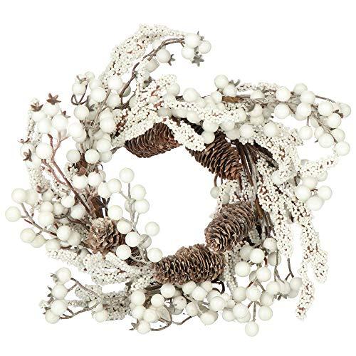 com-four® Corona de Puerta de Navidad - Corona de Adviento con piñas y Bayas Blancas - Corona Decorativa - Decoración navideña - Corona de Mesa - Corona de Navidad - Ø 35 cm