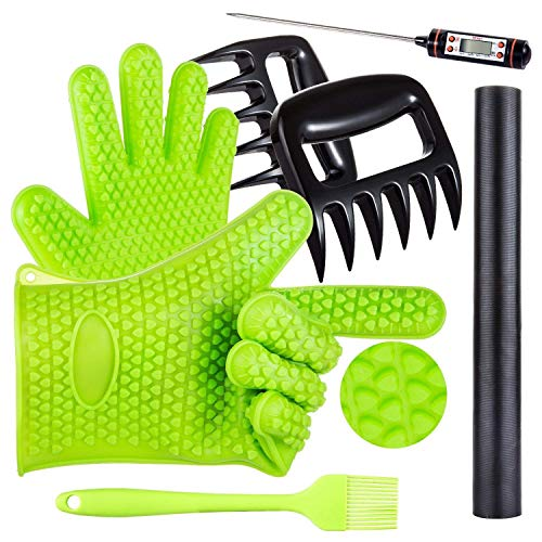 Targher BBQ Grill Oven/Cooking Gloves-Meat Claws Set 5 in 1 BBQ Set with Silicone Gloves,Bear Claws, Meat Thermometer, Silicone Basting Brush, Non-Stick BBQ Baking Mat - for Indoor & Outdoor Cooking
