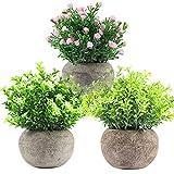 Plantas artificiales decorativas para interiores en macetas, pequeñas plantas falsas de plástico, juego de 3 plantas de imitación para el hogar, oficina, baño