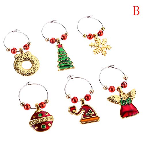 Pendant Drop Ornaments Christmas Wine Glass Mark Charms Glassware Ornaments Cup Ring Xmas Pendants Table Glass Laboratory Crystal Pack Stemware Round Glassware Christmas Ornament B