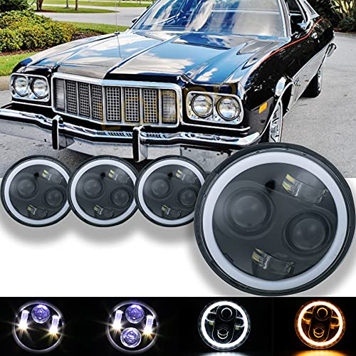 LQQDP 4pcs 5.75  Inch Round Black Housing Clear Lens LED Halo Angel Eye Projector Headlights Assembly H4 9003 HB2 Conversion Kit Amber Turn Signal Parking White High Low Beam DRL Daytime Running Light