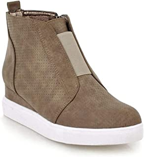 GIY Women's Heel Platform Casual Sneakers Side Zipper High Top Shoes Comfort Ankle Booties Wedge High Top Sports Shoes