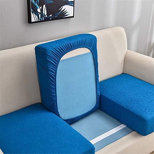 Fundas de cojín de sofá impermeables, fundas de cojín de sofá, fundas de cojín de sofá, elásticas gruesas para cojines individuales (azul, funda de respaldo)