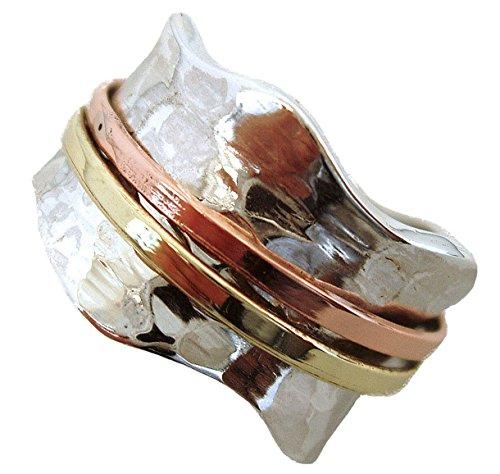 Energy Stone BRISE Ring klassisch gehämmert mit Kupfer und Messingfarbenen Drehringen (Style UK06)