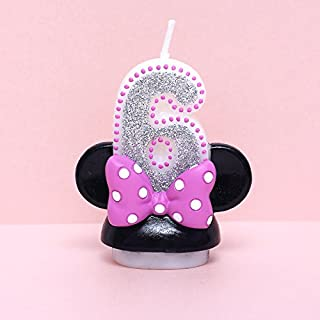 xinchenglove Número 0-9 velas de dibujos animados de Minnie para niños fiesta de cumpleaños decoración de tartas sin humo, 1 unidad/lote AQ095