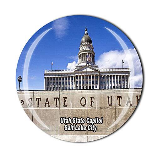 Utah State Capitol Salt Lake City USA Imán para nevera de viaje regalo de recuerdo de cristal 3D decoración del hogar cocina magnética etiqueta