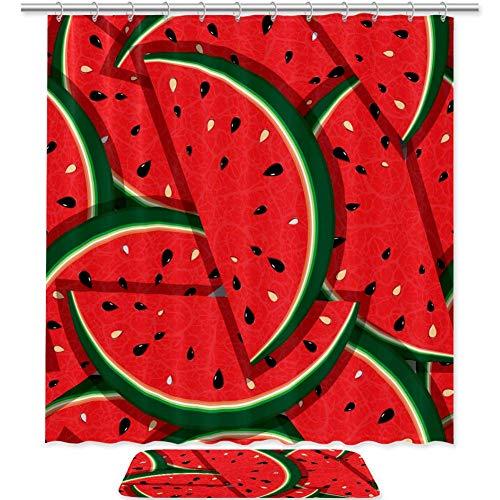 Badezimmer Duschvorhang frische Scheiben von roten Wassermelonen Duschvorhänge Stoff Badezimmer Vorhang Langlebig Wasserdicht Badvorhang-Sets mit 12 Haken