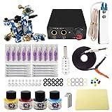 Wormhole Tattoo Komplettes Tattoo Maschine Set für Anfänger Tattoo Netzteil Kit 4 Tattoo Farben 10 Tattoo Nadeln 1 Pro Tattoo Kit Tattoo Zubehör EU Stecker (TK1000016)