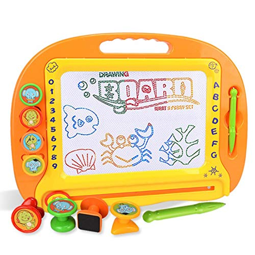 ZYYYYY Magnetic Drawing Board Kids Writing Board Erasable Doodle Painting Toy Plastic Magnetic Drawing Board with 4 Stamps and 1 Pen