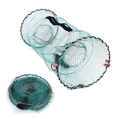 XIAOSHI Little Oriental Trampa de Pescado Plegable |Red de Pesca |Red de Cebo de Aterrizaje de Malla fundida Plegable for Cangrejo de Cangrejo Pinnow Crawfish Bagrefish For Lake River (Color : Green)