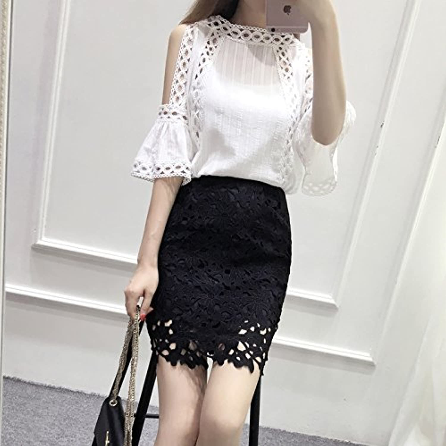 ZHUDJ The Spring And Autumn Dress Small Fragrant Suit Jacket Shoulder Bag Hip Lace Skirt Two Piece