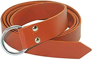 Leather Ring Belt with Steel Ring Viking LARP Leather Belt – Tan