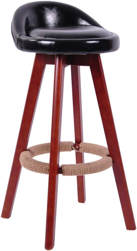 LUO Chaise de bar, chaise de salle à manger rétro, assise en bois et siège rembourré en cuir, tabouret haut de bar de cuisine - repose-pieds,Noir Noir
