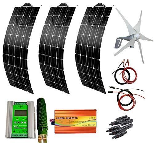 AUECOOR 700 W Wind-Solar-Generator-Kit: 400 W Windturbinen-Generator & 3 Stück 100 W Solar-Panels & 1000 W Wechselrichter (Spitzenleistung 2000 W) & Hybrid-Controller für Wohnmobil, Camping, Boot