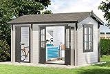 Alpholz 2-Raum Gartenhaus Bolton-28 aus Massiv-Holz | Gerätehaus mit 28 mm Wandstärke | Garten Holzhaus inklusive Montagematerial | Geräteschuppen Größe: 410 x 260 cm | Satteldach