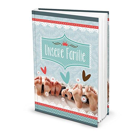 Onze familie XXL turquoise familieboek, dagboek, familiealbum, notitieboek, verhaalboek, familiechronica, stamboom, dagboek, DIN A4, blanco pagina's, zelf schrijven, geschenk geboorte baby