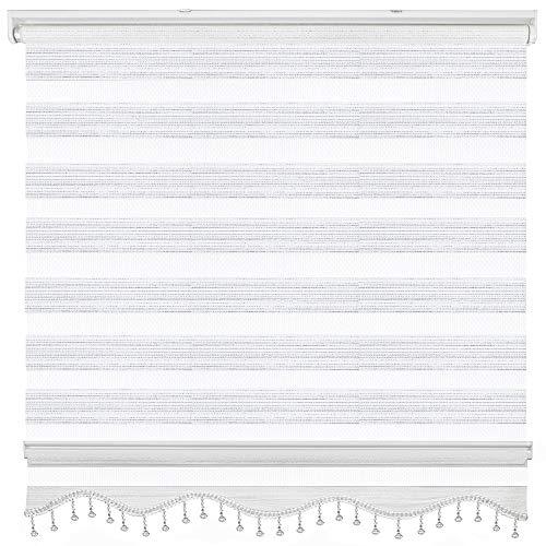 Brillant Doppelrollo Napoli Zebra Perde Fenster Tür Gardine Weiß Silber Jalousie 200 x 200 cm