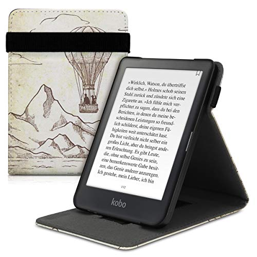 kwmobile Funda Compatible con Kobo Clara HD - Carcasa para e-Book de Cuero sintético - Globo Vintage marrón Oscuro/Beige