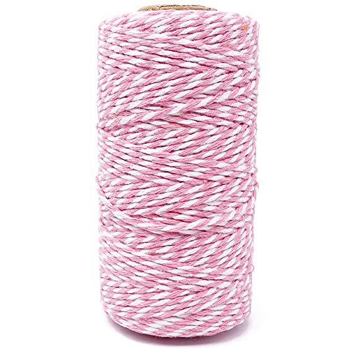 Cotton Twine Pink and White Baker String 2mm Thick 328 Feet Christmas Twine for Gift Wrapping DIY Crafts Home Decoration Gardening