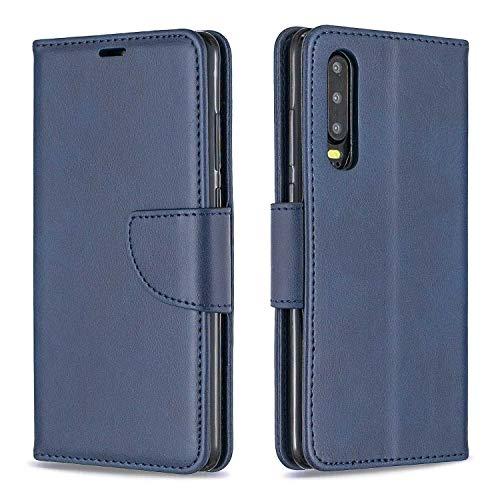 GIMTON Hülle für Huawei P30, Kratzfestes PU Leder mit Magnetisch Verschluss und Kartenfach für Huawei P30, Hochwertige Brieftasche Tasche, Blau