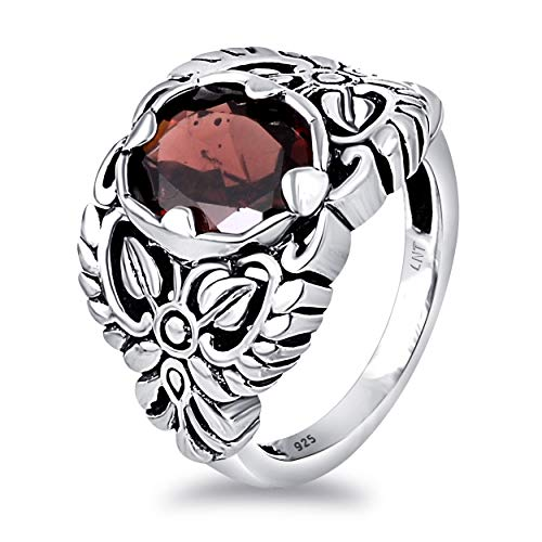 Red Garnet 2.83 Ct Oval 925 Sterling Silver Floral Ring Christmas Gifts For Women By Orchid Jewelry