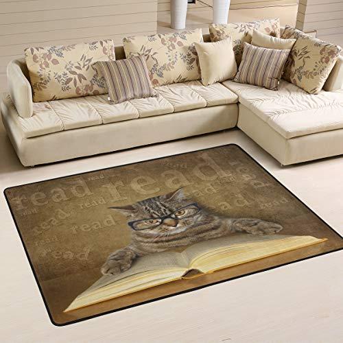 MNSRUU Teppich, niedliches Katzenbuch, Vintage-Stil, für Wohnzimmer, Schlafzimmer, Textil, Multi, 91cm x 61cm(3 x 2 feet)