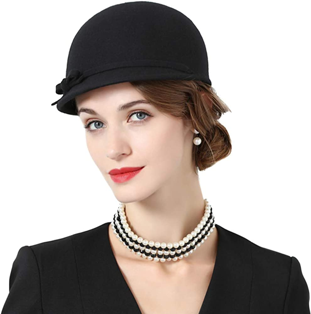 FADVES British Round Cap Vintage 100% Wool Fedora Hats Equestrian Style Hat Bowknot