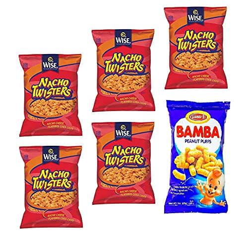 Wise Snacks NACHO TWISTERS CORN CHIPS, 1.375 Ounce (5 Count) + Osem Bamba Peanut Butter, 1 Ounce (1 Count), Bundle Pack (6 Total Bags)