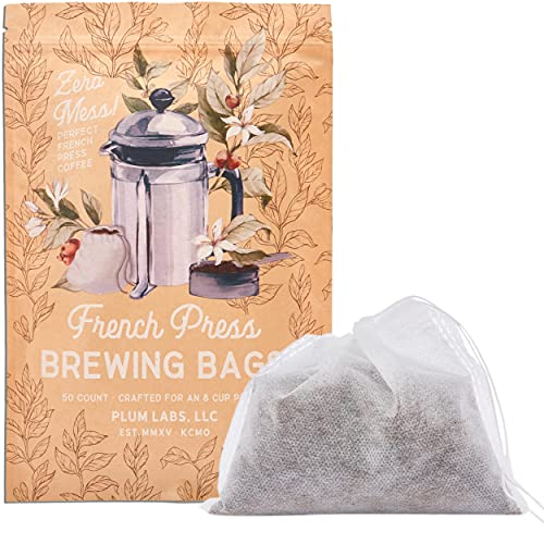 The Original French Press Brewing Bags - 50 Easy Fill Fine Mesh Disposable Coffee Filters For Your French Press Coffee Maker - Perfect for Mason Jar Cold Brew, Beer Hops, Tea, 6'x4' White