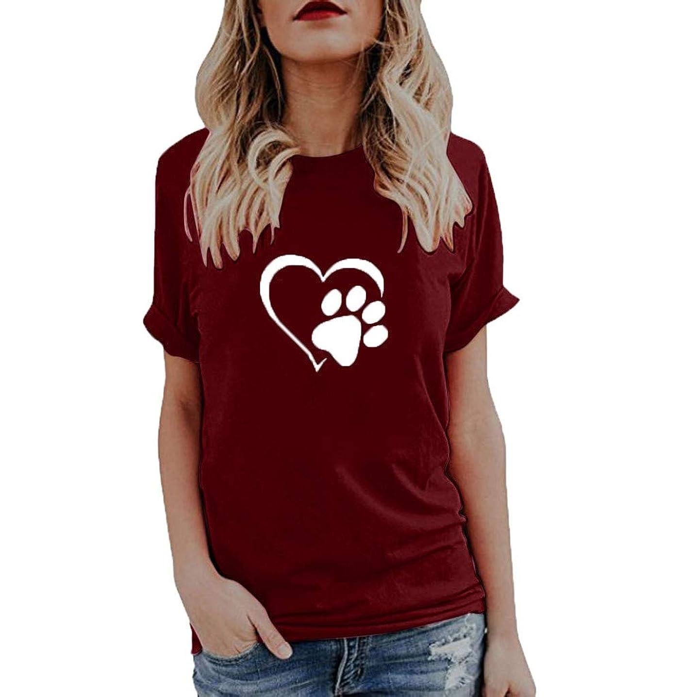 Women Basic T Shirt Summer Cute Print Short Sleeve Round Neck Loose Tunic Blouse Tops