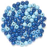 GLOREX Holzperle 80St Mix, Holz, Blau, 11 x 8.5 x 1 cm