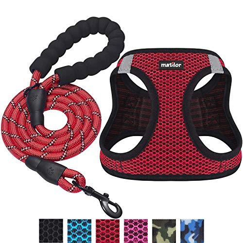 Matilor 2 Packs Dog Harness Step-in Breathable Puppy Cat Dog Vest Harnesses for Small Medium Dogs (Harness+Leash, M Chest 15''-16.5'', Red+Red, 2 Packs)