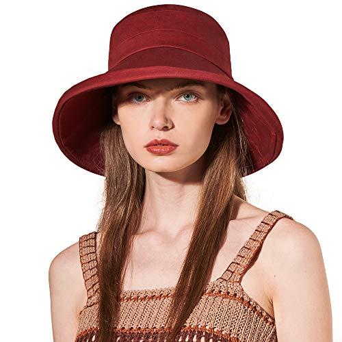 CACUSS Algodon Sombreros Playa Mujer Verano Sombrero ala Ancha Sol Gorras y Sombreros protección UV UPF 50+ Plegable Size M/L