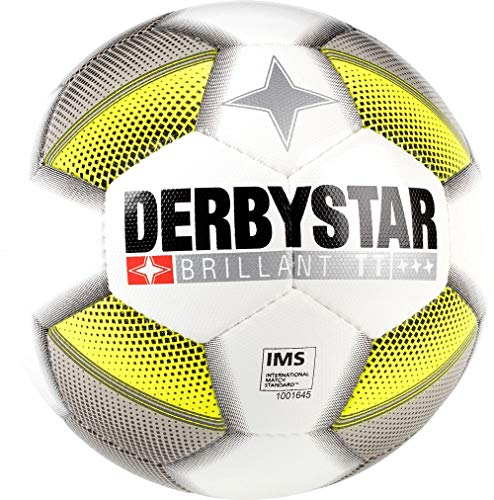 Derbystar Brillant - Pallone da Calcio, Unisex, Colore: Bianco/Grigio/Giallo