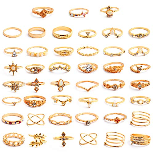 PROJEWE 25-77 Piezas Anillos de Nudillo Vintage para Mujeres Niñas Midi Anillo de Dedo Anillo de la Onda Anillos Knuckle Ring Sets Apilables Boho Midi Anillos Set Moda Regalo