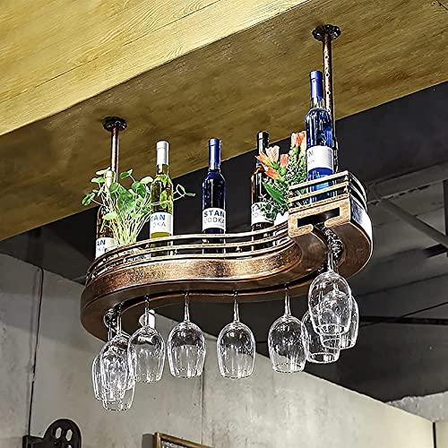 FENGZI Estantes Colgantes para Copas de Vino Amantes del Vino Muebles de Bar y botelleros de Techo de Estilo Europeo Soporte para Botellas de Vino Estante para Copas de Vino Estantes para Copas de