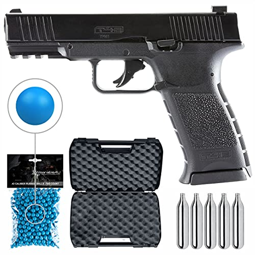 Wearable4U Umarex T4E TPM1 (8XP) .43 Cal Black Paintball Marker Training Pistol with Pack of 100 .43 Cal Blue Paintballs and 5x12gr CO2 Tank Bundle (Black)