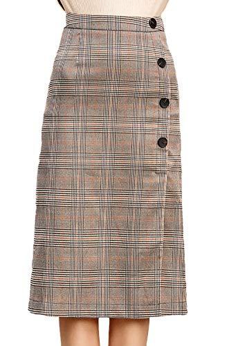 Rok Dames Herfst Winter Wrap Vintage Geruit Vrije tijd Rok Elegante Eenvoudige Glamoureuze Mode Hoge Taille Slim Single-Breasted A-lijn Rokken