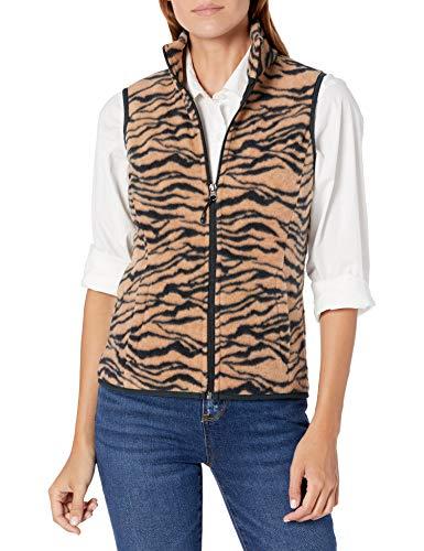 Amazon Essentials Women s Classic Fit Sleeveless Full-Zip Polar Soft Fleece Vest  Animal  Medium