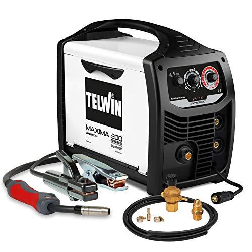 Telwin 816127 Ready Kit saldatrice Inverter multiprocesso Maxima 200 con Accessori Saldatura Flux/MMA/Mig-Mag, 170A