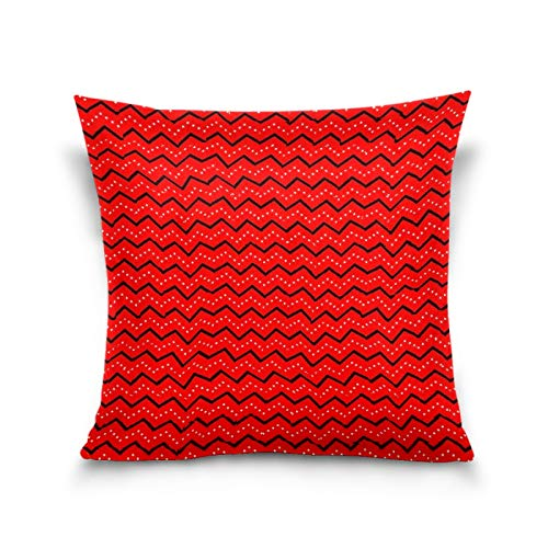 N/Q Sisters Throw Pillow Cover, 18 x 18 Inch I Small Children Cushion Case Decoration for Sofa Couch Cushion Covers Square Outdoor Pillowcase Wavy Line Stripe Red