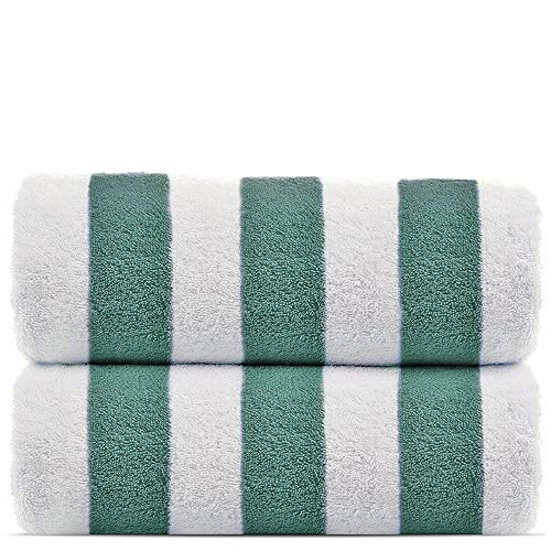 100% Turkish Cotton, Luxury Eco-Friendly Cabana Stripe Highly Absorbent Pool Beach Towels for Beach,...